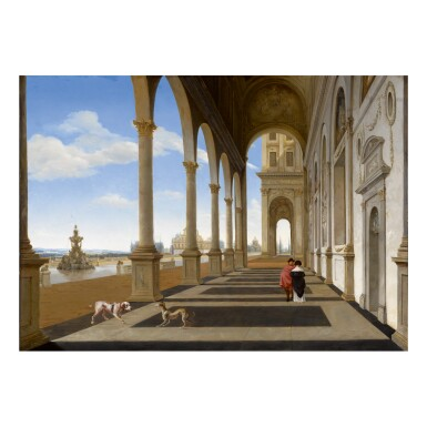 ISAAK VAN NICKELEN   A PALACE COLONNADE WITH ELEGANT FIGURES AND TWO DOGS, WITH A VIEW OF A FOUNTAIN AND OTHER ARCHITECTURE IN THE DISTANCE