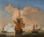 WILLEM VAN DE VELDE THE YOUNGER AND STUDIO | A calm with an English Merchant Ship at anchor