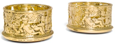 A PAIR OF ELIZABETH II SILVER-GILT WINE COASTERS, RUNDELL, BRIDGE & RUNDELL, LONDON, 2007