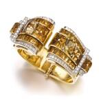 Janesich | Pair of citrine and diamond clips/bangle combination, circa 1940 | Janesich | 黃水晶配鑽石別針/手鐲組合一對,約1940年