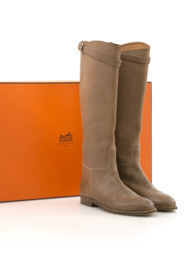 Brown leather Jumping boots, Hermès