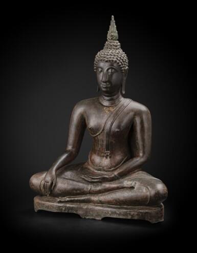View 2. Thumbnail of Lot 238. A large bronze seated Buddha Thailand, Ayutthaya period, 15th-17th century | 暹邏 十五至十七世紀 阿瑜陀耶式銅佛坐像.
