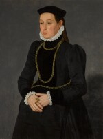 Portrait of a lady, possibly Margaretha Mertha, wife of Hendrik Pilgram, three-quarter length, wearing black with gold chains