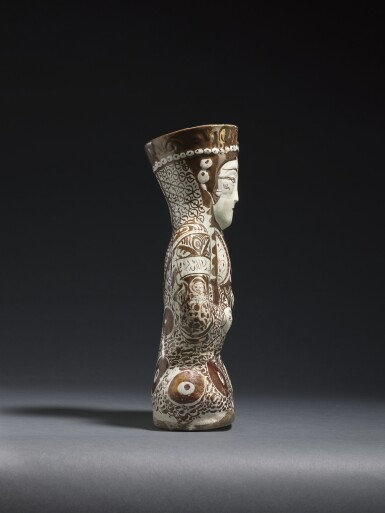 View 2. Thumbnail of Lot 212. A KASHAN LUSTRE POTTERY VESSEL IN THE FORM OF A SEATED FEMALE RULER, PERSIA, 12TH/13TH CENTURY .