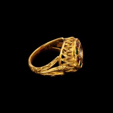 View 2. Thumbnail of Lot 1081. A gold, diamond, ruby and emerald 'floral' ring South India, 19th century | 十九世紀 南印度 金嵌鑽石、紅寶石及祖母綠花形戒指.