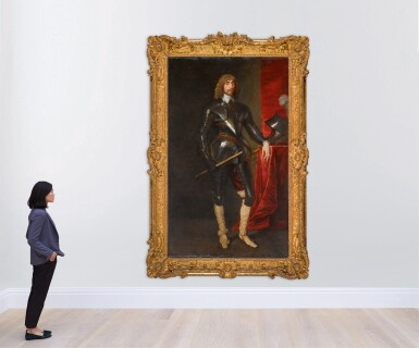 View 4. Thumbnail of Lot 26. Portrait of George Hay, 2nd Earl of Kinnoull (circa 1595–1644), full-length, wearing armour, and holding a baton in his right hand, his left resting on a table with a red cloth, upon which is his helmet | 《喬治・黑伊,金諾伯爵二世(約1595-1644年)身披鎧甲、右手持棍、左手搭在桌邊的全身肖像,桌上鋪紅色桌布並擺放頭盔》.