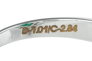 View 3. Thumbnail of Lot 88. Emerald and diamond ring [Bague émeraude et diamants].
