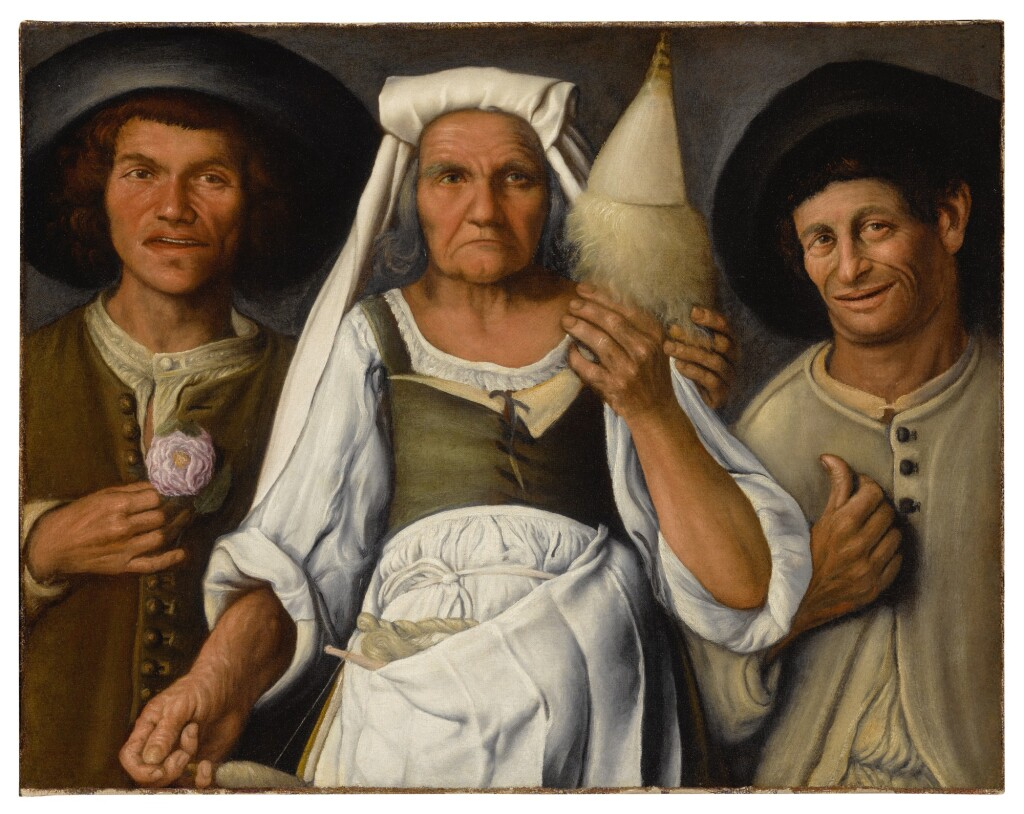 ATTRIBUTED TO VINCENZO CAMPI     AN OLD PEASANT WOMAN WITH A DISTAFF AND SPINDLE FLANKED BY TWO MALE PEASANTS