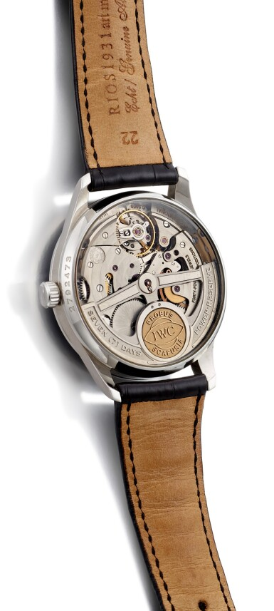 """View 3. Thumbnail of Lot 2023.  IWC     PORTUGIESER AUTOMATIC 2000, REFERENCE 5000-001  A LIMITED EDITION STAINLESS STEEL WRISTWATCH WITH POWER RESERVE INDICATION, CIRCA 2002   萬國   """"Portugieser Automatic 2000 型號5000-001 限量版精鋼腕錶,備動力儲備顯示,機芯編號2828439,錶殼編號2792473,約2002年製""""."""