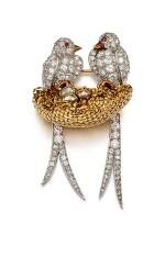 DIAMOND AND RUBY BROOCH, VAN CLEEF & ARPELS   鑽石 配 紅寶石 別針, 梵克雅寶(Van Cleef & Arpels)