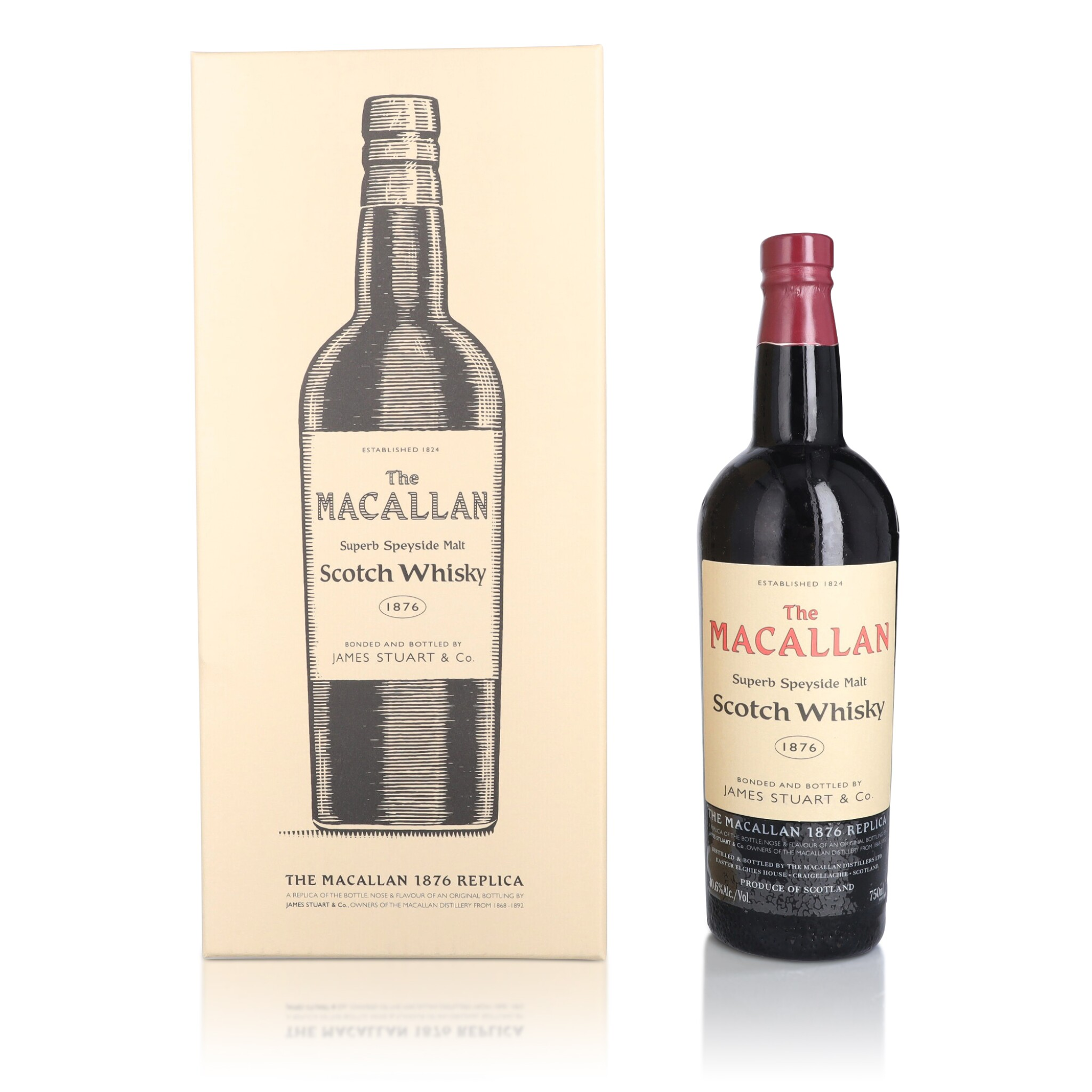 View full screen - View 1 of Lot 34. The Macallan 1876 Replica 40.6 abv NV (1 BT75).