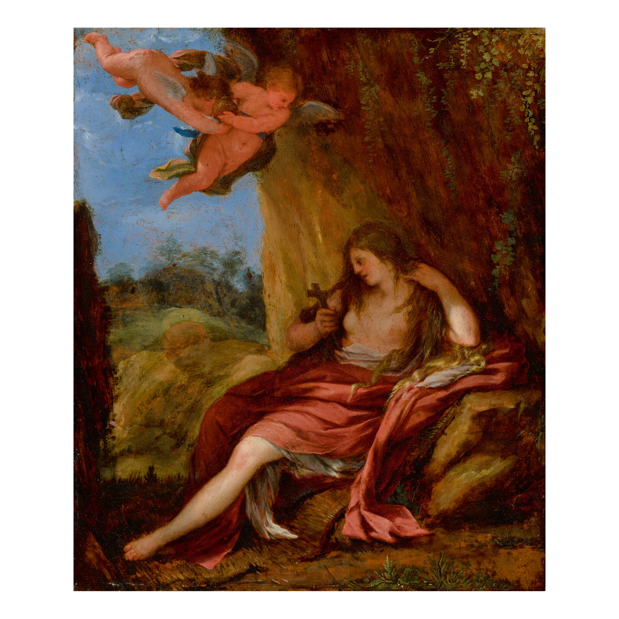 View full screen - View 1 of Lot 56. ROMAN SCHOOL, 17TH CENTURY   THE PENITENT MARY MAGDALENE IN A CAVE WITH TWO PUTTI.
