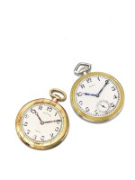 LECOULTRE AND SPAULDING & CO | A PAIR OF TWO TONED GOLD OPEN FACED WATCHES CIRCA 1930