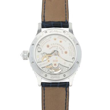 View 4. Thumbnail of Lot 59. L.U.C. Tourbillon, Ref. 171908-1001 Limited edition white gold and diamond-set tourbillon wristwatch with power reserve indication and total diamond weight of 22.95 carats Made in 2005 | 蕭邦171908-1001型號「L.U.C. Tourbillon」限量版白金鑲鑽石陀飛輪腕錶備動力儲存顯示,鑽石總重22.95克拉,2005年製.