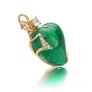 View 2. Thumbnail of Lot 745. Harry Winston   Emerald and diamond pendant   海瑞溫斯頓   祖母綠配鑽石吊墜.