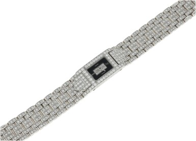 View 6. Thumbnail of Lot 74. A LADY'S WHITE GOLD AND DIAMOND SET BRACELET WATCH WITH ONYX AND DIAMOND-SET DIAL, CIRCA 2005.