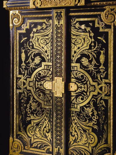 View 3. Thumbnail of Lot 31. A LOUIS XIV STYLE GILT-BRONZE MOUNTED, EBONY AND BRASS BOULLE MARQUETRY SMALL ARMOIRE, BY JOSEPH CREMER, CIRCA 1860.