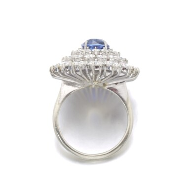View 3. Thumbnail of Lot 99. SAPPHIRE AND DIAMOND RING.