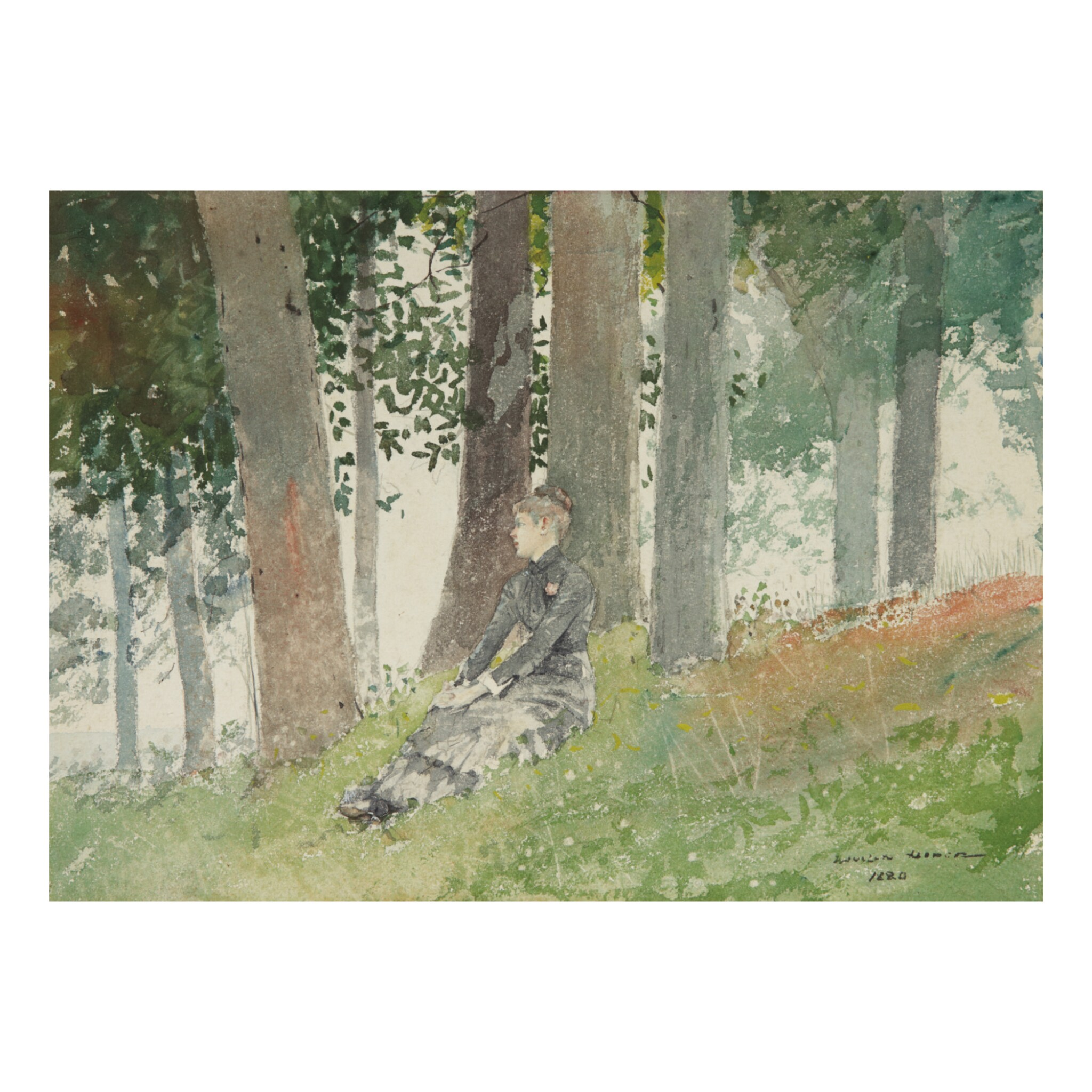 View full screen - View 1 of Lot 63. WINSLOW HOMER | GIRL SEATED IN A GROVE.