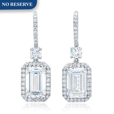 View 1. Thumbnail of Lot 8. Pair of Diamond Earrings.