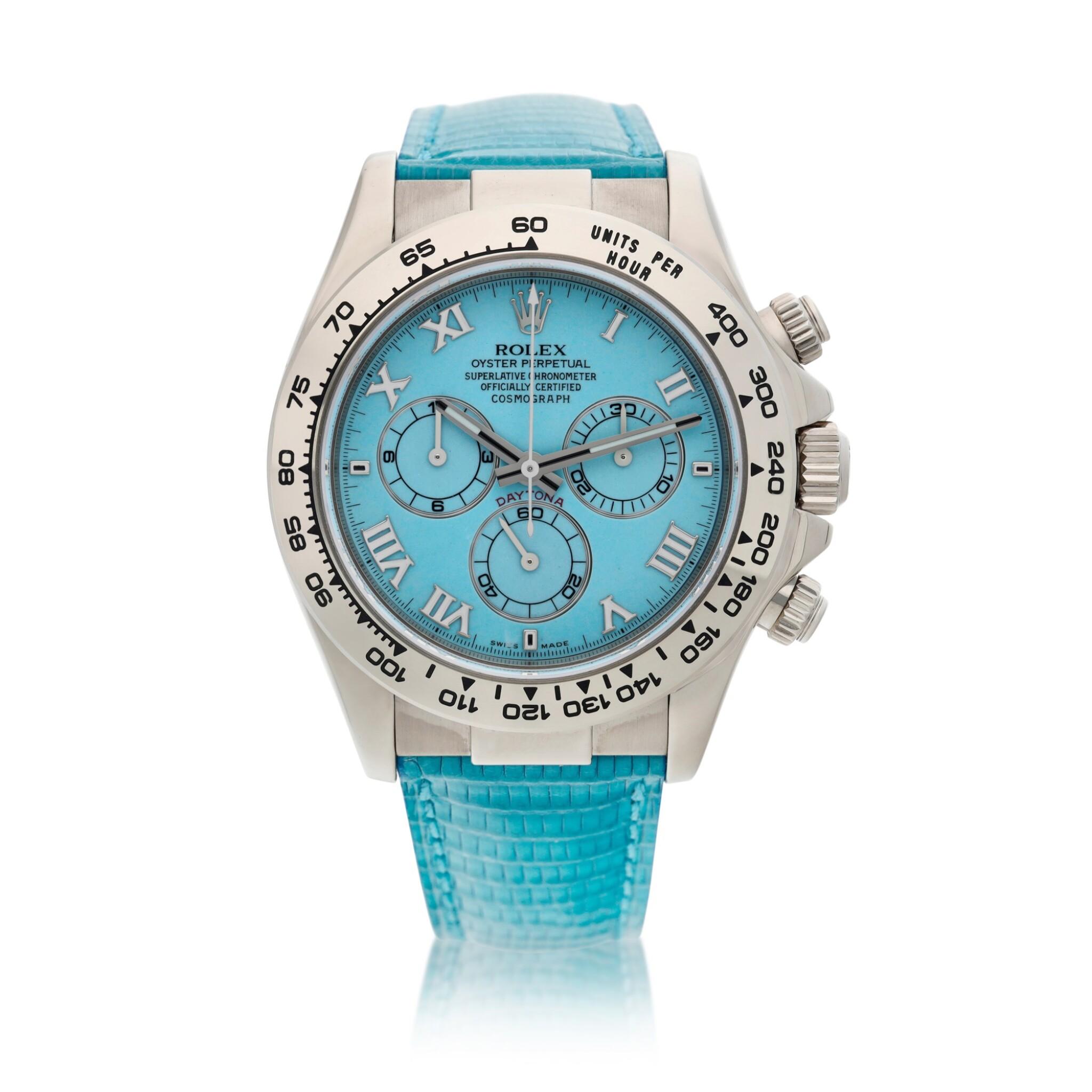 View full screen - View 1 of Lot 211. Reference 116519 'Daytona Beach'  A white gold automatic chronograph wristwatch, Circa 2000.