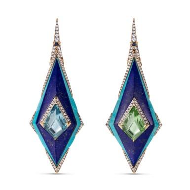 View 1. Thumbnail of Lot 20. Pair of lapis lazuli, turquoise, beryl and diamond earrings.