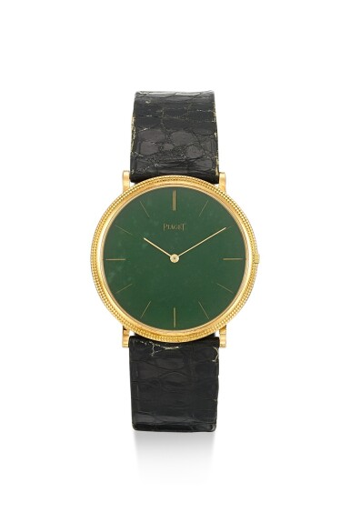 PIAGET | REFERENCE 9031, A YELLOW GOLD WRISTWATCH WITH GREEN HARD STONE DIAL, CIRCA 1990