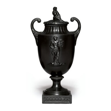 A WEDGWOOD AND BENTLEY BLACK BASALT PISTOL-HANDLED VASE AND COVER CIRCA 1770