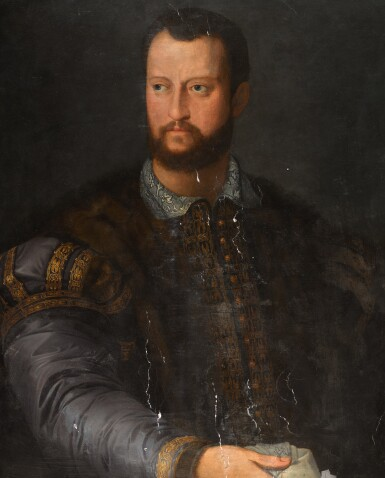FOLLOWER OF AGNOLO DI COSIMO CALLED BRONZINO   Portrait of Cosimo de' Medici, half-length, in an embroidered doublet with fur wrap