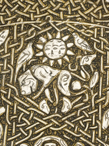 View 7. Thumbnail of Lot 74. A rare and important Khurasan silver-inlaid brass basin, probably Herat, circa 1200.