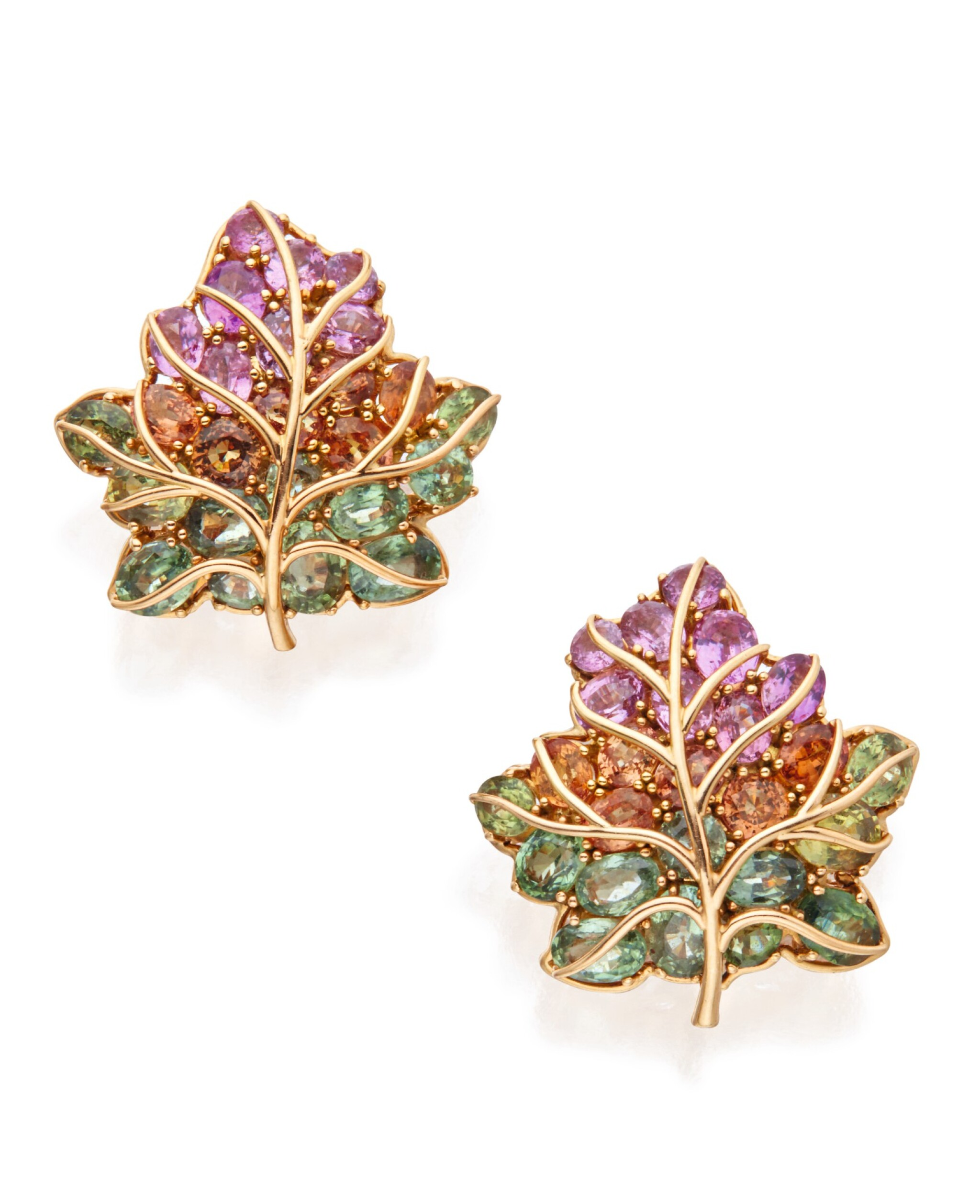 View full screen - View 1 of Lot 301. PAIR OF GOLD AND MULTI-COLORED SAPPHIRE 'LEAF' EARCLIPS, VERDURA .