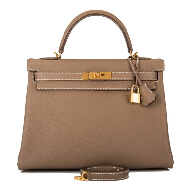 View 1. Thumbnail of Lot 70. HERMÈS | ETOUPE RETOURNE KELLY 32CM OF TAURILLON CLEMENCE LEATHER WITH GOLD HARDWARE.
