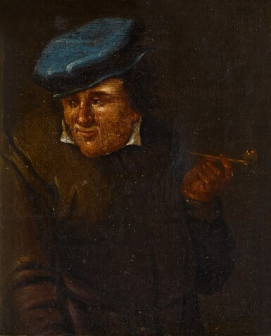 View 2. Thumbnail of Lot 33. Portrait of a man with a pipe and blue hat.