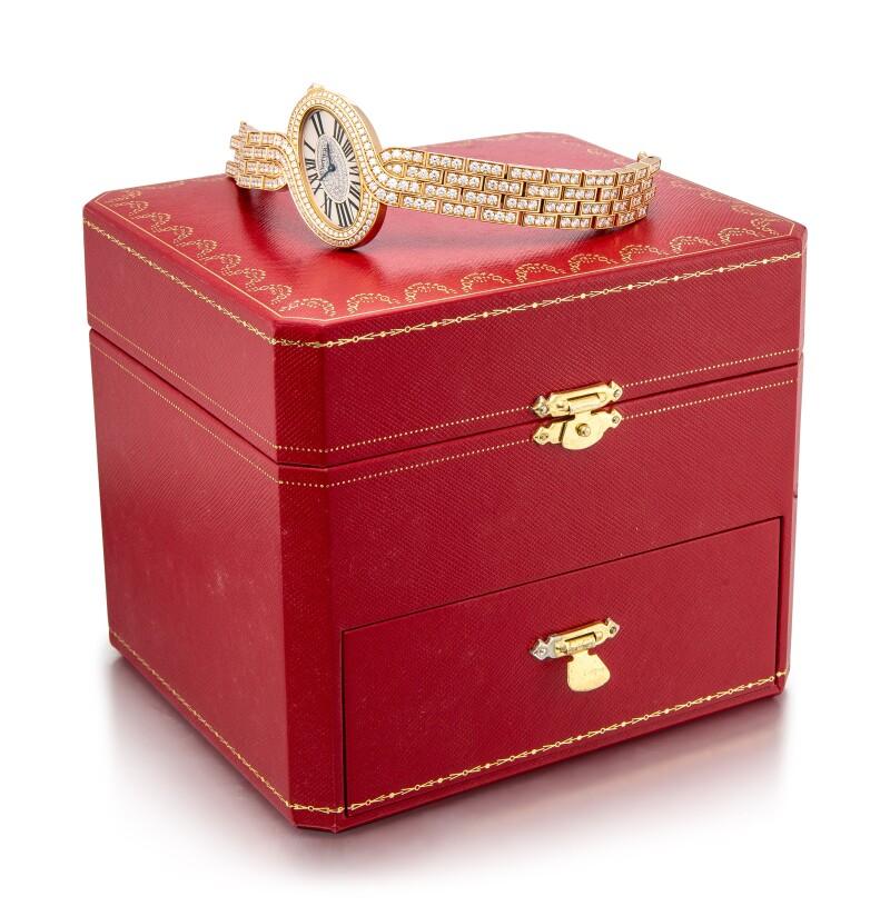 Cartier Pink Gold and Diamond-Set Bracelet Watch