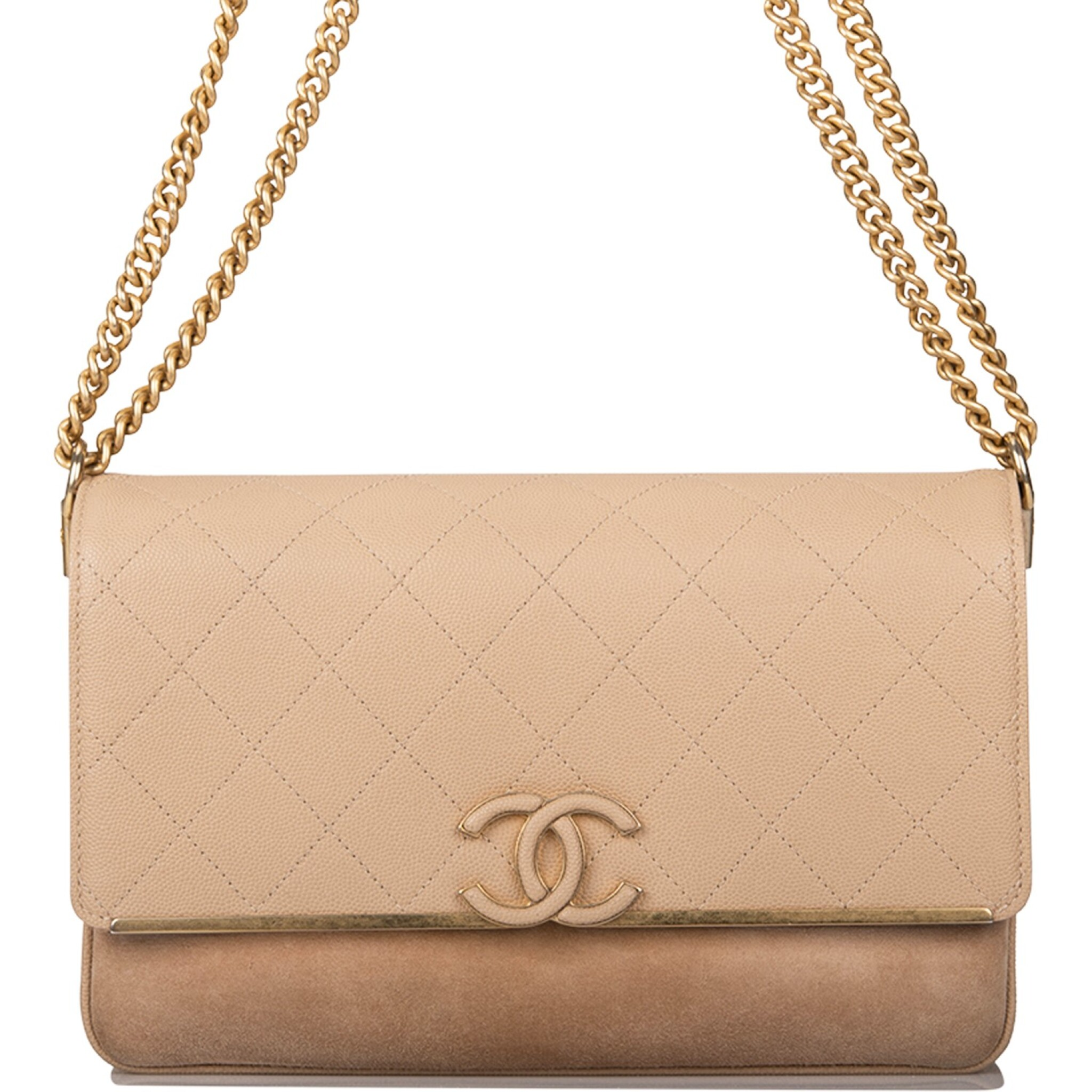 View full screen - View 1 of Lot 97. CHANEL    BEIGE FLAP BAG OF QUILTED CAVIAR AND SUEDE WITH MATTE GOLD TONE HARDWARE.
