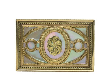 View 3. Thumbnail of Lot 29. A mother of pearl snuff box with two-colour gold mounts.