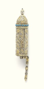 A PARCEL-GILT SILVER MINIATURE ESTHER SCROLL CASE, THE SILVER SIGNED EZEKIEL [BEN] DAVID NAWI, BAGHDAD, THE SCROLL SIGNED ISAAC [BEN] REUBEN [BEN] SADKAH [BEN] MOSES HUSSEIN, 19TH CENTURY