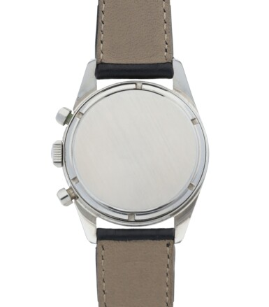 View 4. Thumbnail of Lot 48. HEUER | CARRERA 12, REF 2447T STAINLESS STEEL CHRONOGRAPH WRISTWATCH  CIRCA 1965.