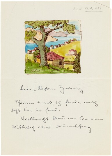 View 5. Thumbnail of Lot 82. Hermann Hesse, Highly important series of 62 letters and postcards to Stefan Zweig, 1903-1938.
