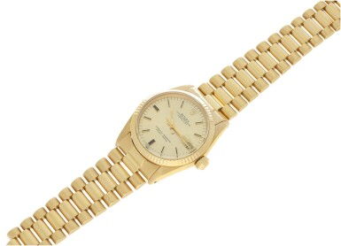 View 6. Thumbnail of Lot 81. REFERENCE 6827 DATEJUST A YELLOW GOLD AUTOMATIC WRISTWATCH WITH DATE AND BRACELET, CIRCA 1979.