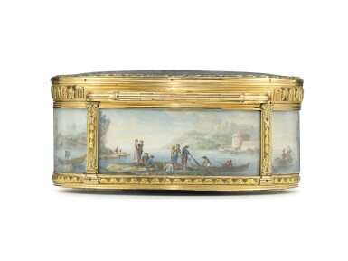 View 3. Thumbnail of Lot 30. A boîte-à-miniatures with three-colour gold mounts.