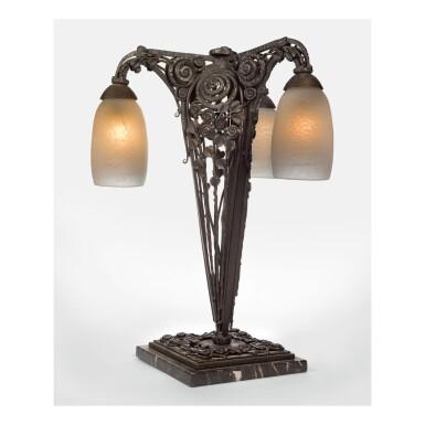 EDGAR BRANDT | THREE-LIGHT TABLE LAMP