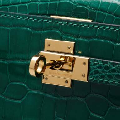 View 7. Thumbnail of Lot 71. Cactus Kelly Pochette in Shiny Alligator Mississippiensis with Gold Hardware, 2012.