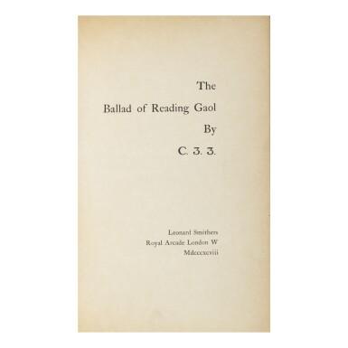 OSCAR WILDE   THE BALLAD OF READING GAOL BY C. 3. 3. LONDON: LEONARD SMITHERS, 1898