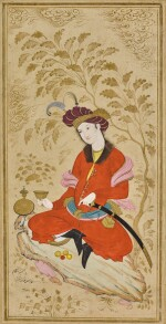 A PORTRAIT OF NAZAR 'ALI BEG, SON OF ALQAS MIRZA BY MU'IN MUSAVVIR, ISFAHAN, PERSIA, DATED 1084 AH/1674-5 AD