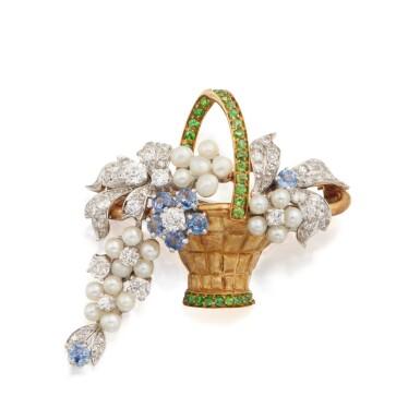 Paul Flato | Gold, Pearl, Diamond and Gem-Set Brooch