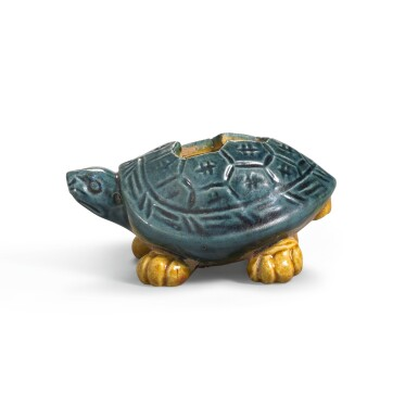 View 1. Thumbnail of Lot 222. A VERY RARE SMALL BLUE AND AMBER-GLAZED 'TORTOISE' WATERPOT TANG DYNASTY | 唐 藍釉加黃彩龜形水注.