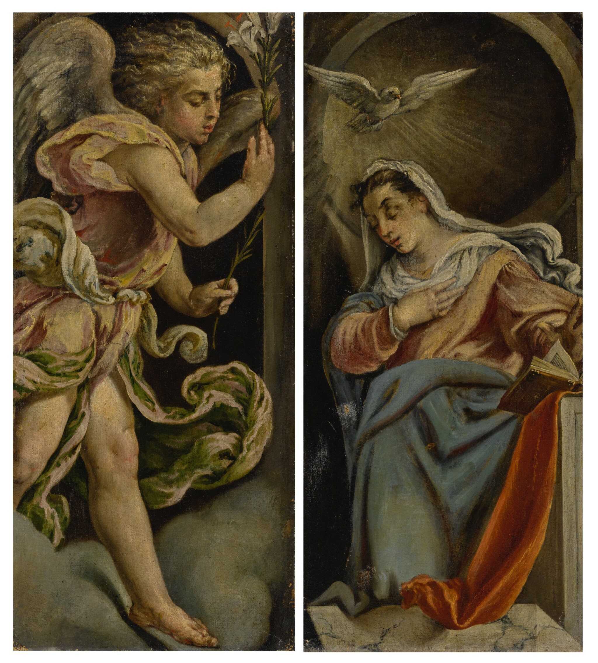 View full screen - View 1 of Lot 569. Angel of the Annunciation; Virgin of the Annunciation: a pair.
