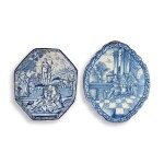 TWO DUTCH DELFT BLUE AND WHITE PLAQUES, EARLY 18TH CENTURY
