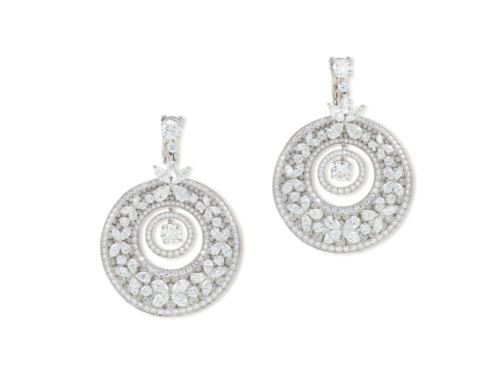 View full screen - View 1 of Lot 1649. 'Butterfly' Pair of Diamond Pendent Earrings | 格拉夫 | 'Butterfly' 鑽石 耳墜一對.